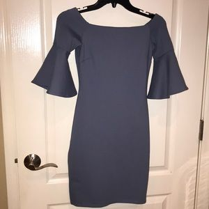 Gorgeous off the shoulder bell sleeve blue